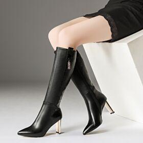 Blockabsatz Klassisch Schwarz Chunky Heel Leder Stiefel