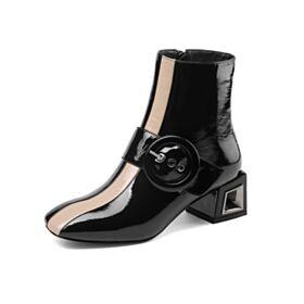 Damesschoenen Blokhakken Ronde Neus 5 cm Heel Zwart Gevoerde Enkellaarsjes