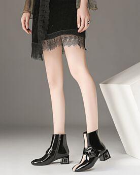 Stiefeletten Blockabsatz Chelsea Boots Gefütterte 5 cm Kitten Heels Chunky Heel Schwarz Comfort Leder