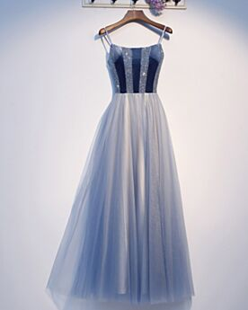 A Line Prom Dress Long Evening Dress Light Blue Beautiful Spaghetti Strap Backless Sleeveless