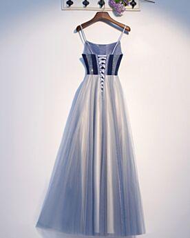 Abendkleider Hellblau Lange Perlen Ballkleid Empire Rückenausschnitt
