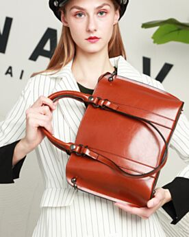 Briefcase Vintage Shoulder Bag Brown Womens Handbag Full Grain With Top Handle Large
