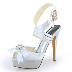Met Strik Satijnen Witte Elegante High Heels Peep Toe Met Steentjes Strappy Sandalen Dames Trouwschoenen Schattige