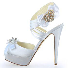 Mit Perle Weiß Schöne Hochzeitsschuhe Riemchenpumps Stilettos Plateau Mit Schleife Sandaletten Mit Strasssteine High Heels Peeptoes