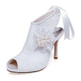 2020 Blancos Zapatos De Novia Tacon Alto Botas Bajas Peep Toe De Satin Encaje