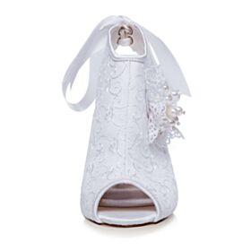 Ankle Boots Weiß Spitzen 9 cm High Heels Hochzeitsschuhe Peeptoes