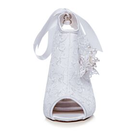 Vintage Chaussure De Mariée Bottines Talons Hauts Dentelle Satin Peep Toes Blanche Talons Aiguilles