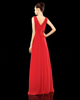 Formal Evening Dresses Beaded Red Low Cut Simple Backless Chiffon Empire Pleated