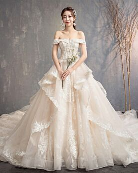 Cute A Line Elegant With Train Wedding Dress Off The Shoulder With Bow