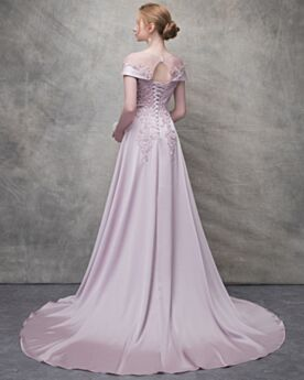 Homecoming Dresses Summer Evening Dresses Long A Line Appliques Satin Lavender Lace Backless Transparent