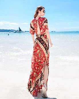 ボヘミアン 深 v ネック ロング ビーチウェア 花柄 エンパイア スリット 赤い ワンピース シフォン オープンバック 半袖 75820180508