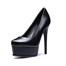 Stiletto Heels High Heels Platform Pumps Going Out Shoes Pointed Toe Work Shoes Leather