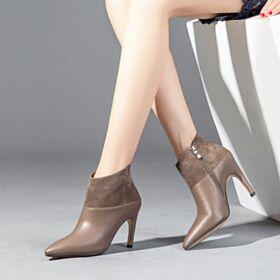 Klassisch 9 cm Stiefeletten Mit Absatz Stilettos Spitz Zeh Stiefel Business Schuhe Wildleder High Heel