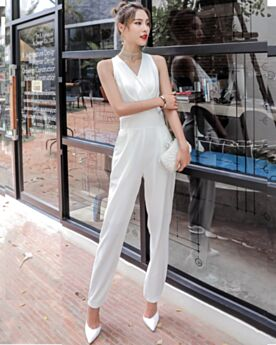 Wrap Cigarette Going Out Casual Wear Bohemian White Jumpsuits Chiffon Plunge 2019