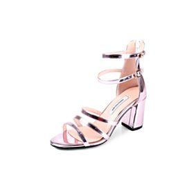 Color Rosa Palo Tacon Ancho Romana Sexys Tacon Medio Sandalias De Charol Zapatos De Fiesta