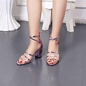 Con Tacco Largo Rosa Confetto Tacco Medio Gladiatore Sensuali Sandali Scarpe Cerimonia In Vernice Pelle