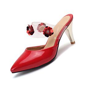 Tacco Medio 7 cm Casual Tacchi A Spillo Fiore 3D Con Suola Rossa Uscire Estivi Vernice Sandali