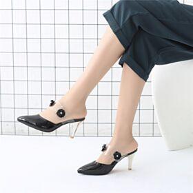 Sandali Di Vernice Fiore Estivi Con Suola Rossa Uscire Moda Nere Tacco A Spillo Medio 7 cm