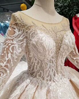 Beading Bridal Gowns Lace Scoop Neck Long Sleeve Vintage Luxury Sequin Ruffle Open Back Tulle