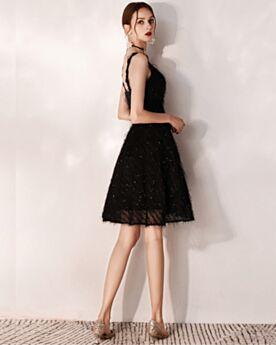 Black Cute Cocktail Dresses Fringe Short Semi Formal Dress Sequin Fit And Flare Sleeveless 2019 Open Back