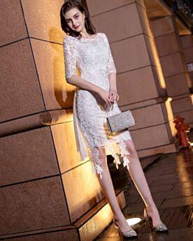 Cocktail Dresses Half Sleeve Graduation Dresses Lace Cute Juniors White Sheath