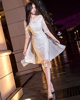 Cocktail Dresses Half Sleeve Graduation Dresses Lace Cute Juniors White Sheath