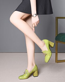 Mocassins 8 cm Talon Haut Bout Rond Cuir Vert Lime Confort Talon Carrés Vernis
