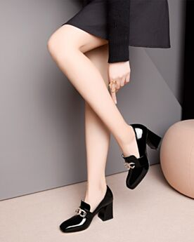 3 inch High Heel Comfort Block Heel Black Leather Loafers Thick Heel Patent