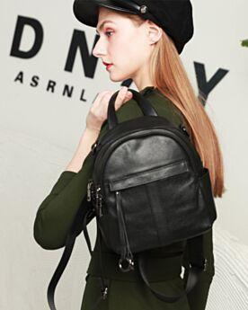 Classic Leather Black Handbag Full Grain Backpack