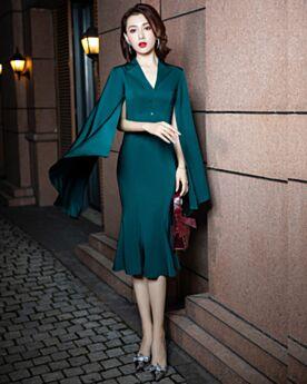 Knee Length Long Sleeve Customizable Bell Sleeve Mermaid Sheath Semi Formal Dress Elegant
