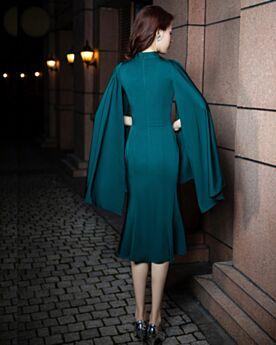 Elegantes Vestidos Semi Formales Ajustados Vestidos Madre De La Novia Por La Rodilla Azul Petroleo Mangas Acampanadas Escote V Corte Sirena Con Manga Larga