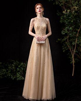 Pailletten Empire Mouwloze Lange Galajurk Verlovingsjurken Sweet 16 Jurk Kralen Franjes Avondjurken A Lijn Luxe Gouden