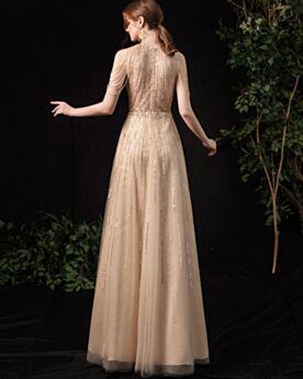 Luxury Sparkly Fringe Engagement Dress Sequin Prom Dress Beaded Gold Formal Dresses Empire