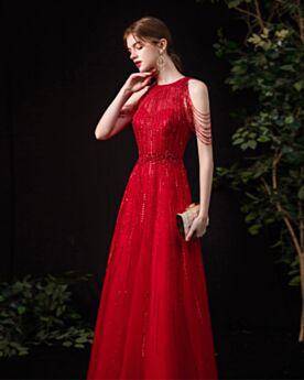 Tüll Lange Mit Fransen Abendkleid Ballkleider A Linie Abiballkleid Sommer Rot Pailletten Ärmellos Herrlich Schöne Festliche Kleider
