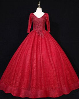 Appliques Sequin Lace Prom Dresses Luxury Engagement Dresses Backless Burgundy Elegant Glitter Sparkly Quinceanera Dresses