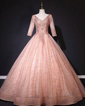 Princesa De Lujo Largos De Otoño Coral De Encaje Con Purpurina Elegantes Vestidos De 15 Años