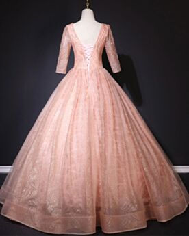 Prom Dresses Coral Lace Open Back Ball Gown Sweet 16 Dress Sparkly Glitter Quinceanera Dress Long