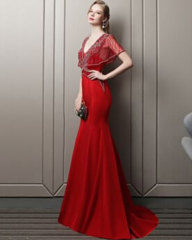 Tulle Mermaid Backless Prom Dresses Satin 2018 Sexy Low Cut Beaded Red Short Sleeve Evening Dresses Luxury