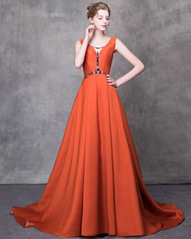 Open Back Beading Vintage Long Summer Low Cut Princess Prom Dress