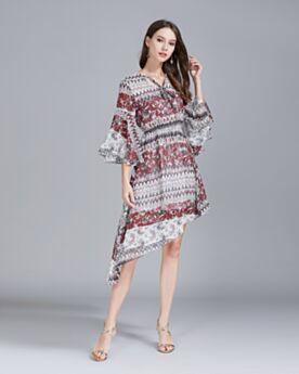 Sommer Druck Kurze Bohemian Vokuhila Kleid Casual Kleider Strandkleider Asymmetrisches Burgunderrot
