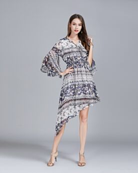 Beachwear Sundress Short Casual Dresses Printed Half Sleeve Tunic Summer Bohemian Dresses Asymmetrical High-Low