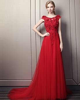 Beautiful Red Prom Dresses A Line Spring Long Appliques Evening Dress 2018 Sleeveless Lace Bohemian