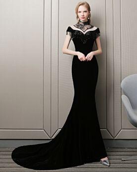 Lange Schwarz Ärmellos Abendkleid Hochgeschlossene Samt Bleistift Transparentes Partykleider