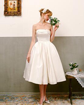 Perlen Wadenlang Standesamt Schlichte Ärmellos Tragerloses Ivory Rückenfreies Brautkleider Vintage