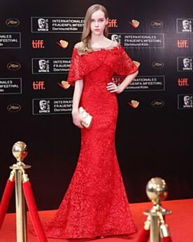 Lange Rode Avondjurken Met Volant Off Shoulder Open Rug Halve Mouw Kanten Galajurken Elegante Luxe