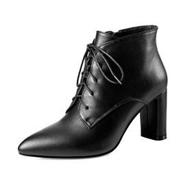 Leather Mid Heels Chunky Heel Classic Martin Boots Boots Booties Block Heel Winter