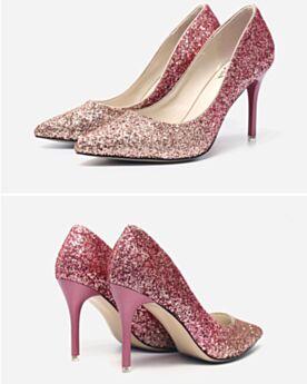 Brillantes Stilettos Oro Rosa Zapatos Tacones En Punta Fina 9 cm Tacon Alto Zapatos De Novia Zapatos De Fiesta