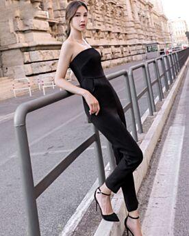 ハイ ウエスト ブラック ロング バックレス パンツ ドレス ペンシルパンツ 76120190116