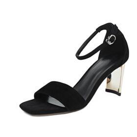 Vestido De Oficina Gamuza Sandalias Negro 6 cm Tacones Modernos Tacon Ancho