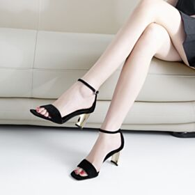 Black Sandals Thick Heel Ankle Strap Office Shoes 6 cm Heeled Fashion Leather
